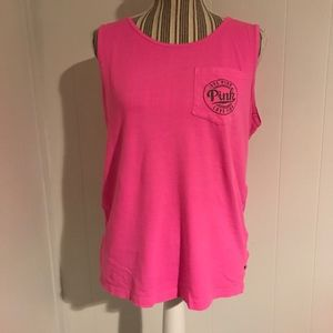 PINK Neon Pink Muscle Tank w/pocket & back design